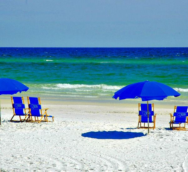 The beach at the Crystal Villas Condominiums in Destin Florida