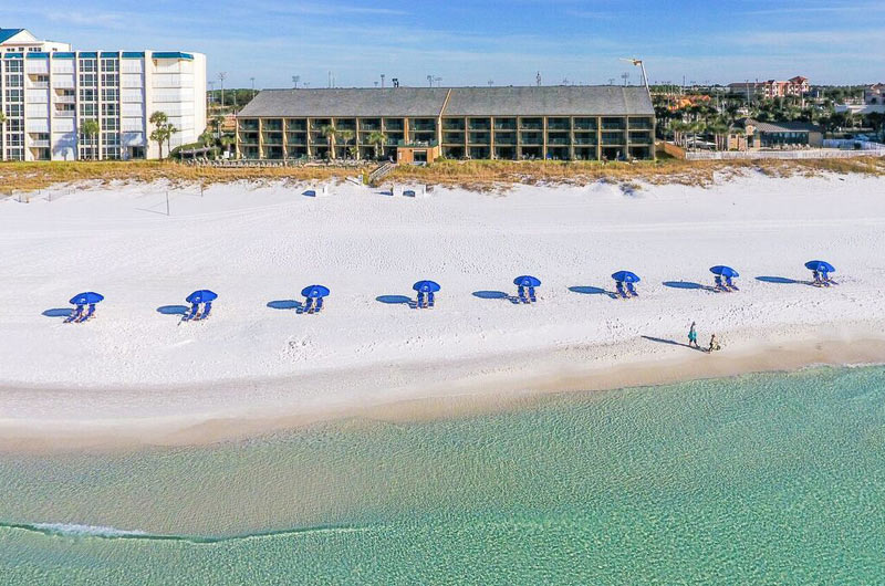 Aerial view of Destin Beach Beach Club in Dstin FL