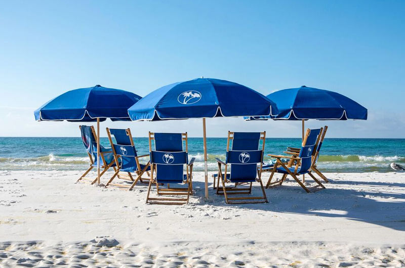 Beach chairs and umbrella at Destin Beach Club in Destin FL