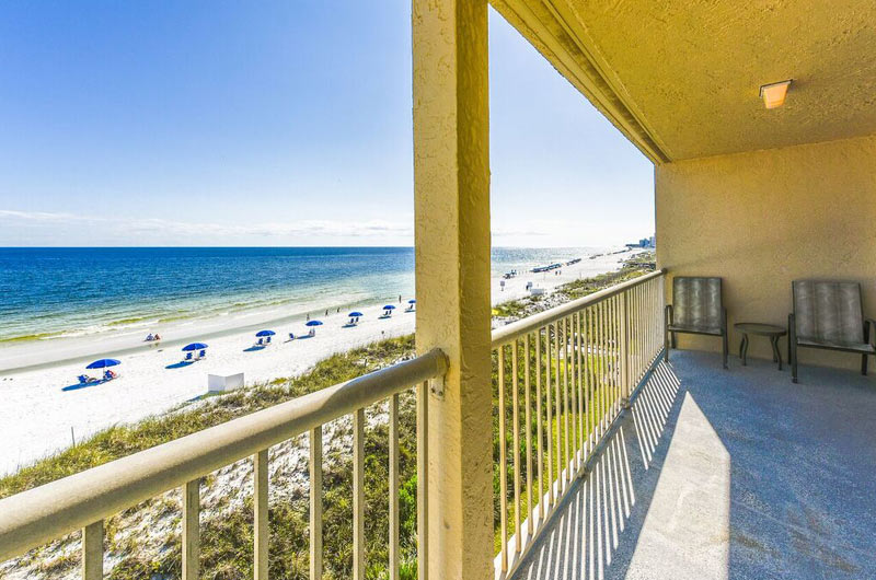 Balcony view of beach at Destin Seafarer in Destin FL