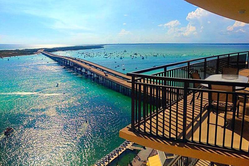 Emerald Grande balcony and view of harbor bridge in Destin FL