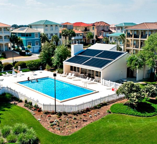 Aerial view of the resort pool and grounds at Enclave Destin FL