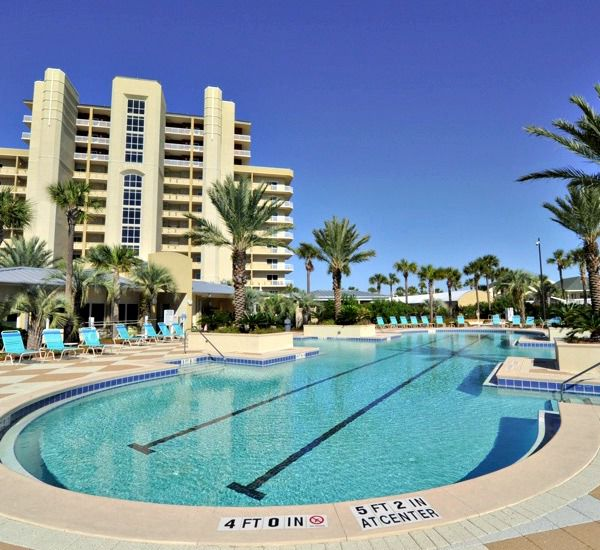 Enjoy the huge inviting pool at Harbor Landing  in Destin Florida