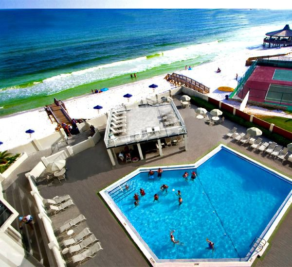Beachside pool seasonally heated and ho tub at Inlet Reef Club Condominiums in Destin Florida