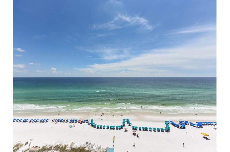 Balconies face directly to the Gulf at Jade East Towers in Destin Florida