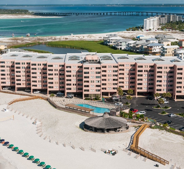 Aerial view of Jetty East in Destin Florida
