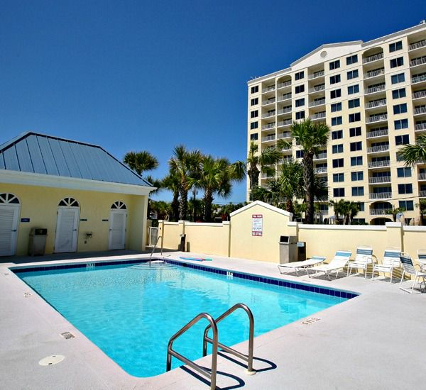 Two large swimming pools at Leeward Key Condominiums  in Destin Florida