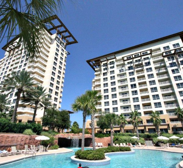 The towers overlooking the pool at the Luau  in Destin Florida