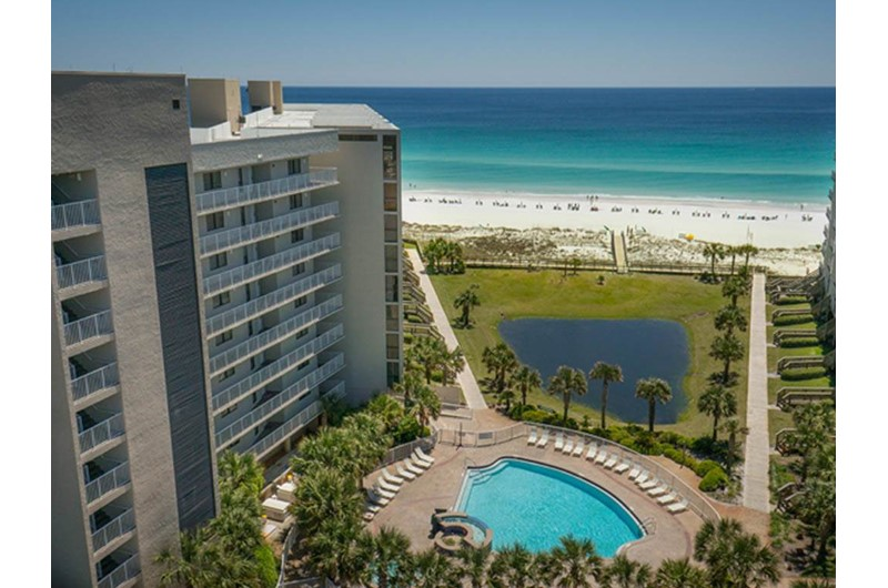 Great view of the pool and Gulf Mainsail in Destin Florida