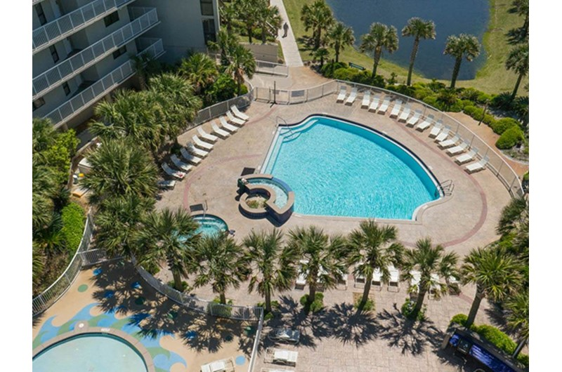 See the lovely pool area from the balcony at Mainsail in Destin Florida