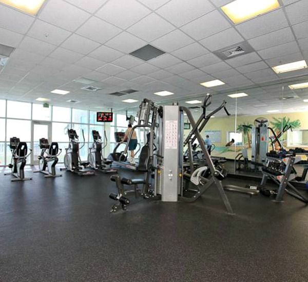 Inside the fitness center at Majestic Sun Resort Destin