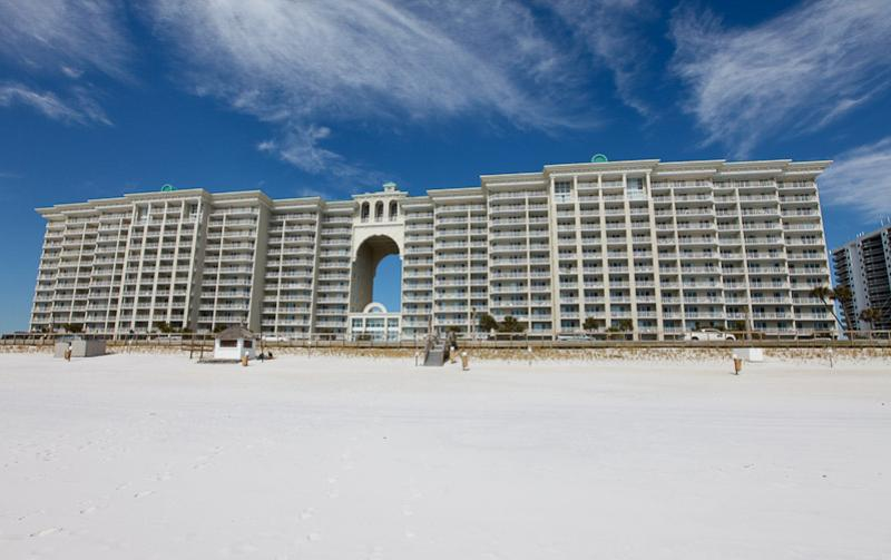 Exterior view from the beach at Majestic Sun Resort Destin