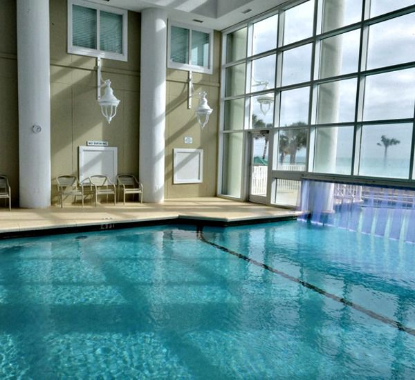Closeup view of the indoor swimming pool at Majestic Sun Resort Destin