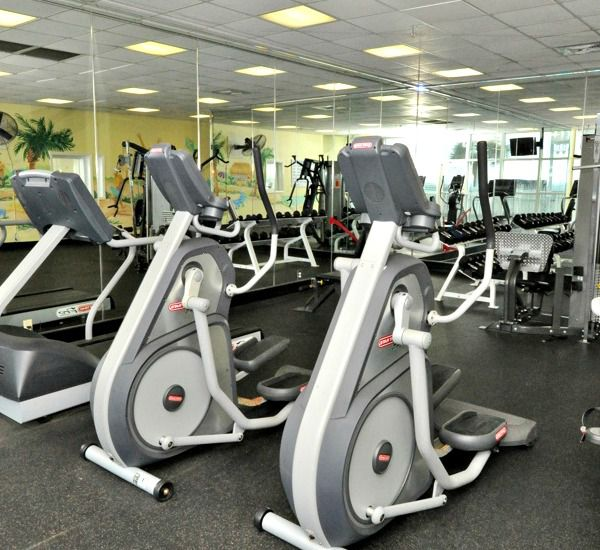 Stationary bikes in the fitness center at Majestic Sun Resort Destin