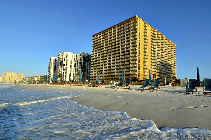 Exterior View Of Beachfront Pelican Beach Resort In Destin Fl