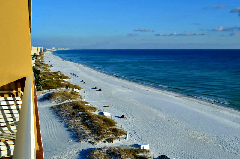 View of beach from Pelican Beach Resort in Destin FL