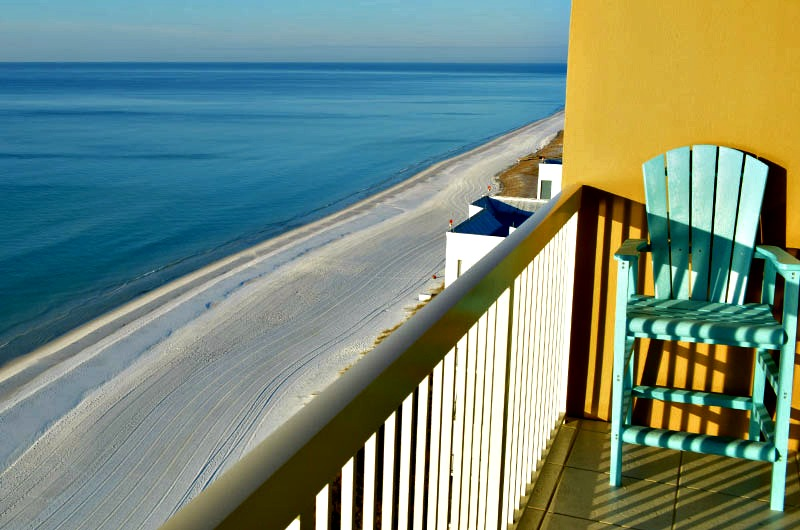 Beach view from balcony at Pelican Beach Resort in Destin FL