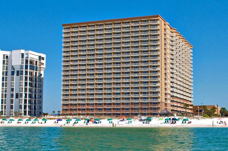 View of Pelican Beach Resort from the beach in Destin FL