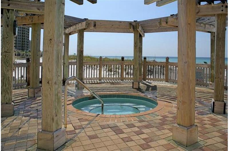 Wonderful hot tub directly on the beach at Pelican Beach Resort in Destin FL