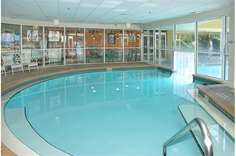 Large heated indoor pool at Pelican Beach Resort in Destin FL