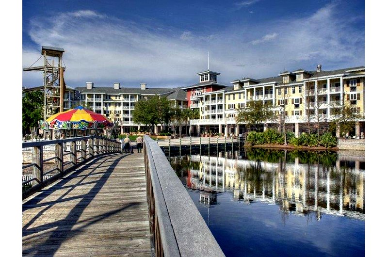 The boardwalk in to Baytowne Wharf at Sandestin in Destin FL