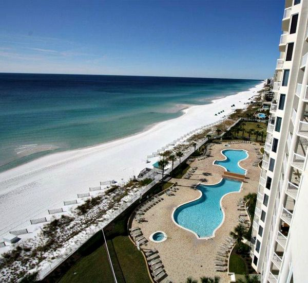 View of the Gulf and pool from Silver Beach Towers Resort in Destin Florida