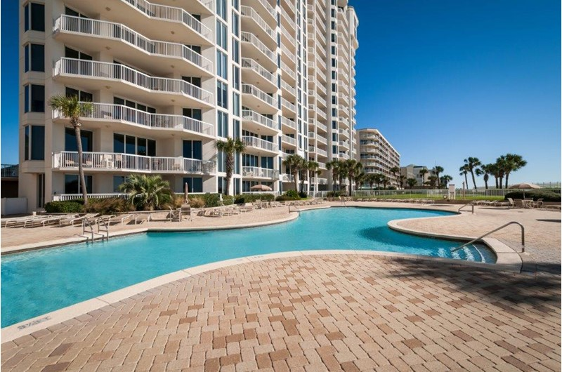 Enjoy lounging around the pool at Silver Beach Tower in Destin FL