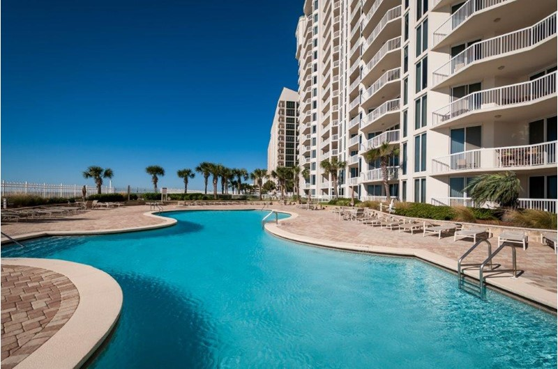 Huge pool area right on the beach at Silver Beach Towers in Destin FL