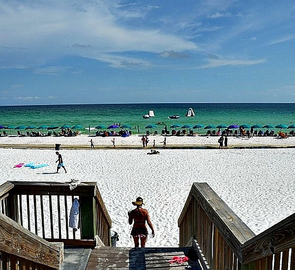 Beach boardwalk and stairs at Silver Shells Destin FL