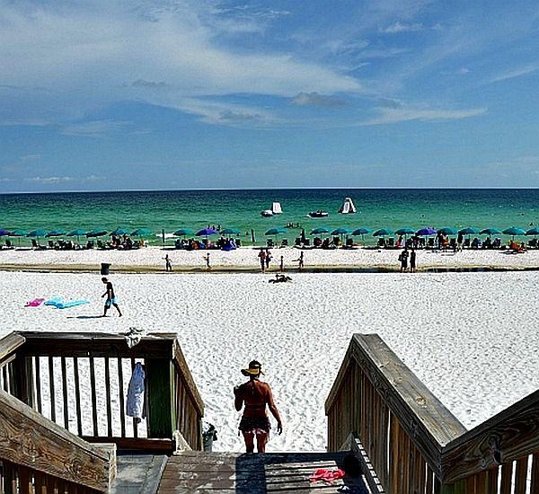 Beach boardwalk and stairs at Silver Shells Destin FL