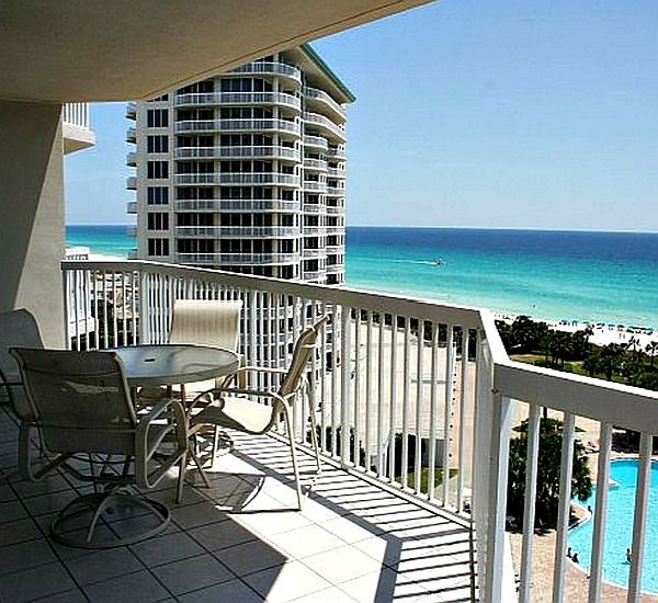 Gulf-front balcony view at Silver Shells Destin FL