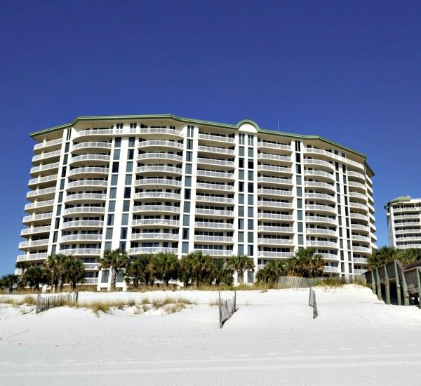 Exterior view from the beach at Silver Shells Destin FL