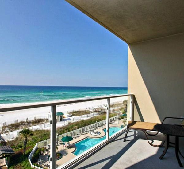 View of the beach from the balcony at Sterling Sands Condominiums in Destin Florida
