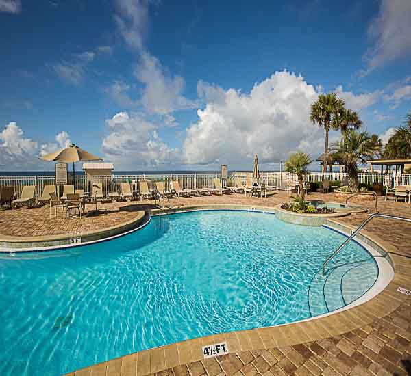 Heated pool at Sterling Sands Condominiums in Destin Florida