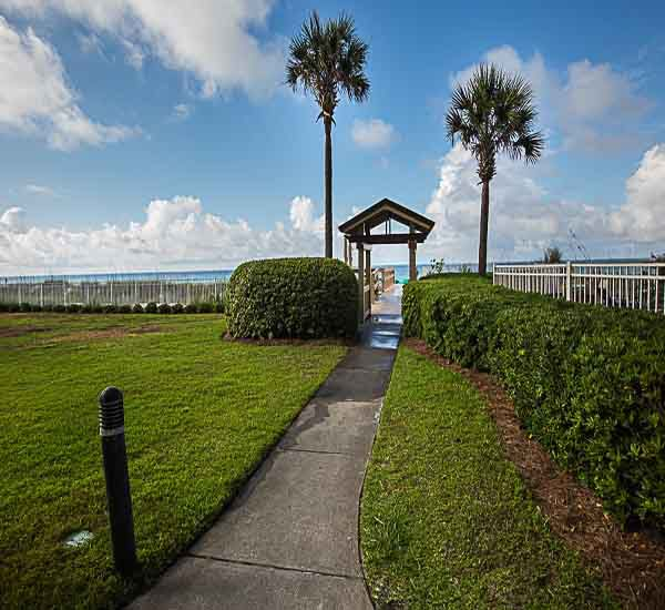 Boardwalk to the beach at Sterling Sands Condominiums in Destin Florida