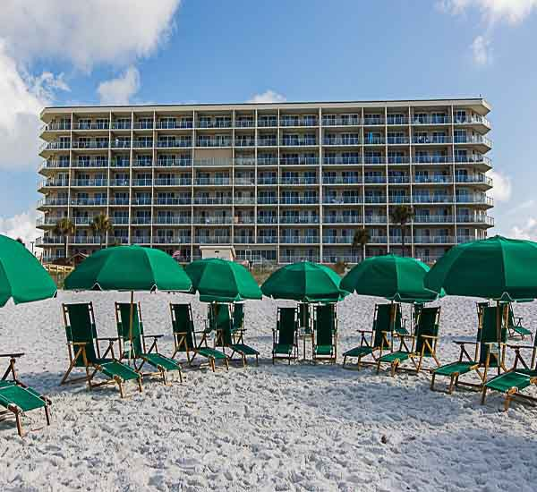 Beach services available at Sterling Sands Condominiums in Destin Florida