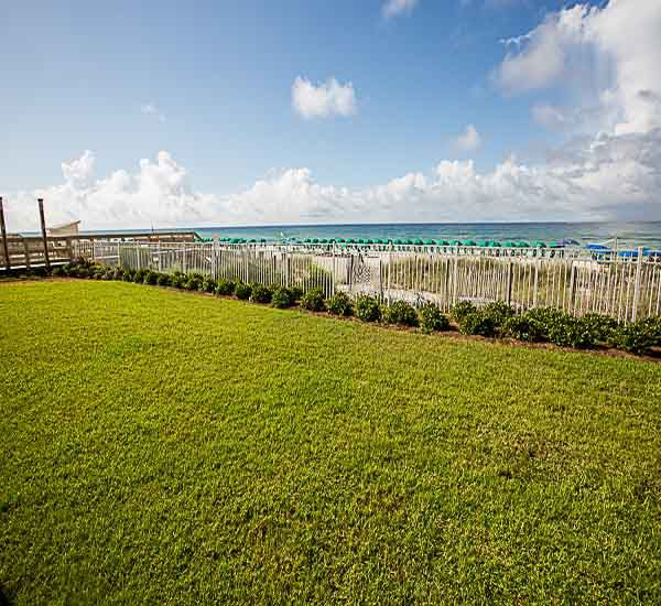 The beachfront grounds at Sterling Sands Condominiums in Destin Florida