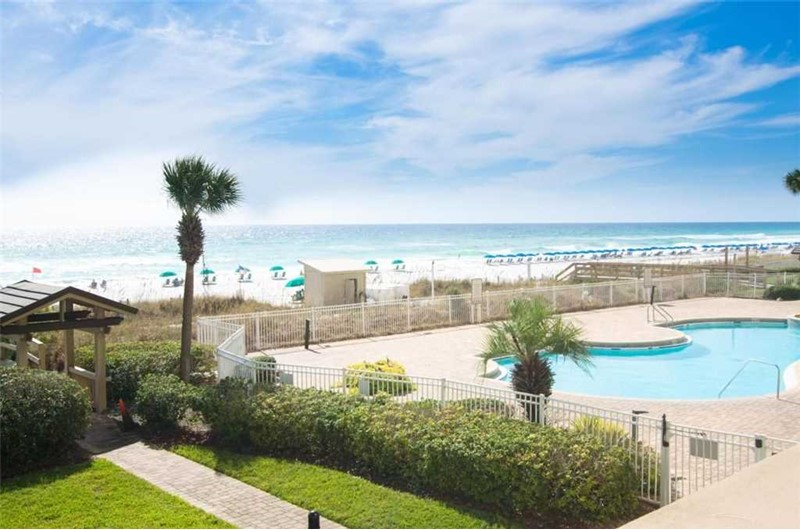 Beautiful grounds and pool on the beach at Sterling Sands in Destin FL