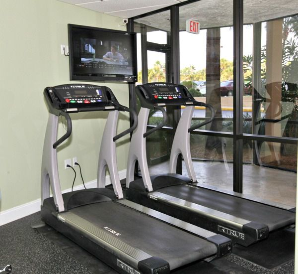 The fitness center with sauna steam room at SunDestin Beach Resort & Hotel   in Destin Florida