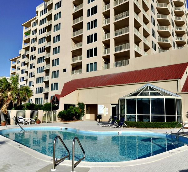 Pool area at TOPS'L Beach Manor in Destin Florida