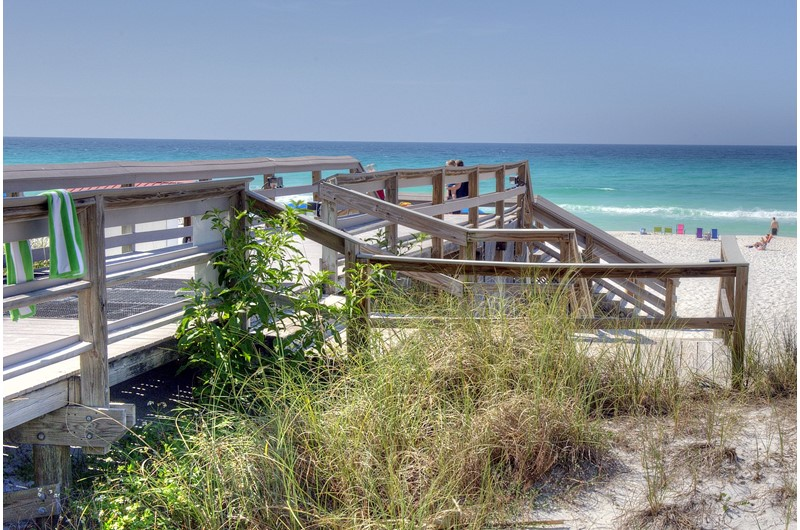 Easy walk over to the beach at TOPS'L Beach Manor in Destin Florida