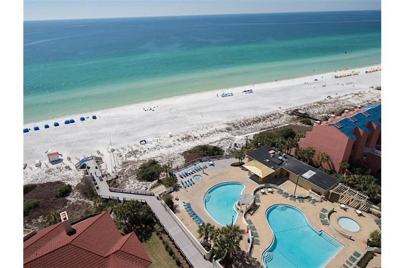 See the lovely pool area from the balcony at TOPS'L Tides in Destin Florida