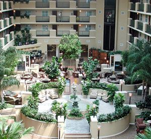 Atrium view from above at Embassy Suites Hotel Destin at Miramar Beach in Destin Florida