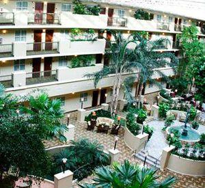 The atrium at Embassy Suites Hotel Destin at Miramar Beach in Destin Florida