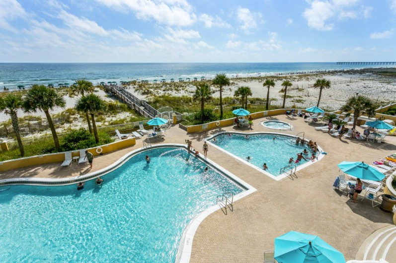 Aerial View of the Beachside Pool and Courtyard at Emerald Isle Pensacola Florida