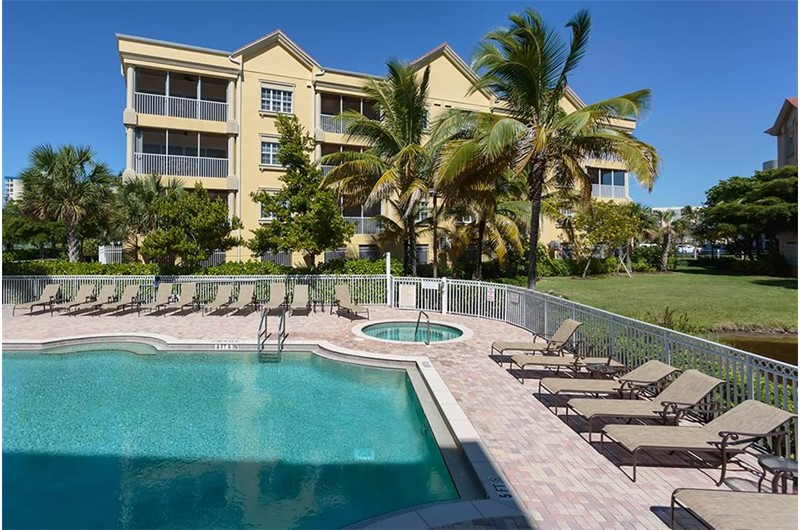 Large pool area at Bella Lago in Fort Myers Beach Florida