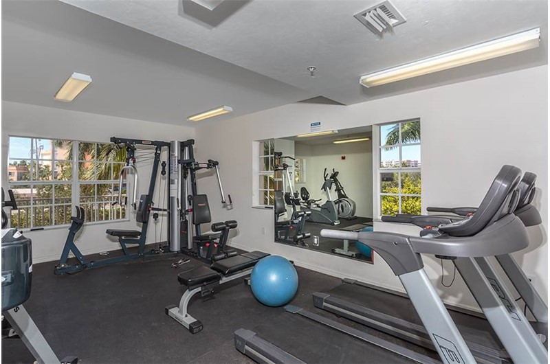 Work out in the gym at Bella Lago in Fort Myers Beach Florida