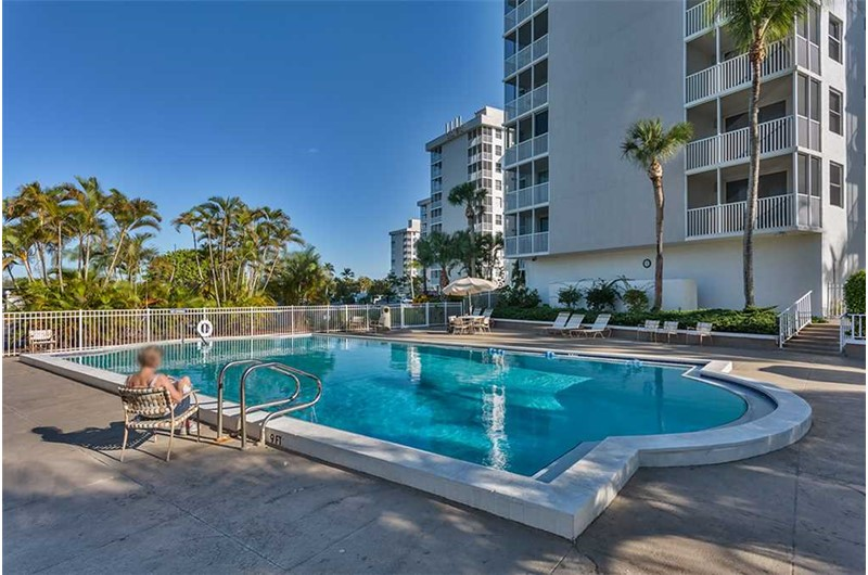 Pool is right on the beach at Estero Beach and Tennis Club in Fort Myers Beach FL