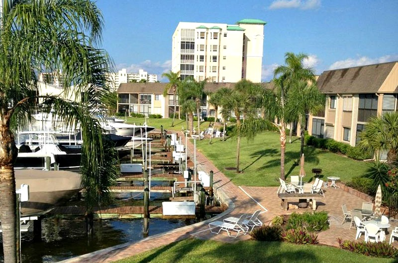 View of canal at Estero Yacht and Racquet Club in Fort Myers Beach FL