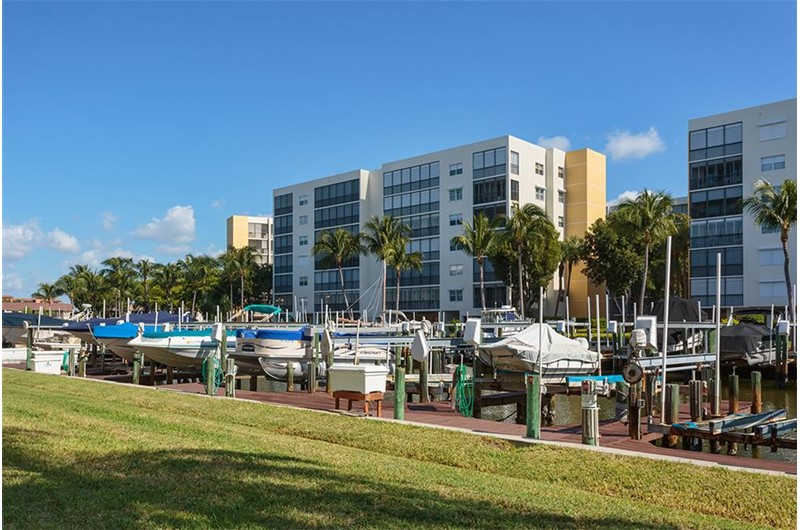 View all the boats in the canal by Royal Pelican in Ft. Myers Beach Florida